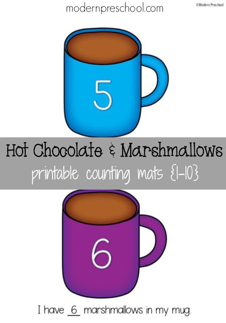 Counting marshmallows in hot chocolate printable mugs with numbers 1-10 from Modern Preschool