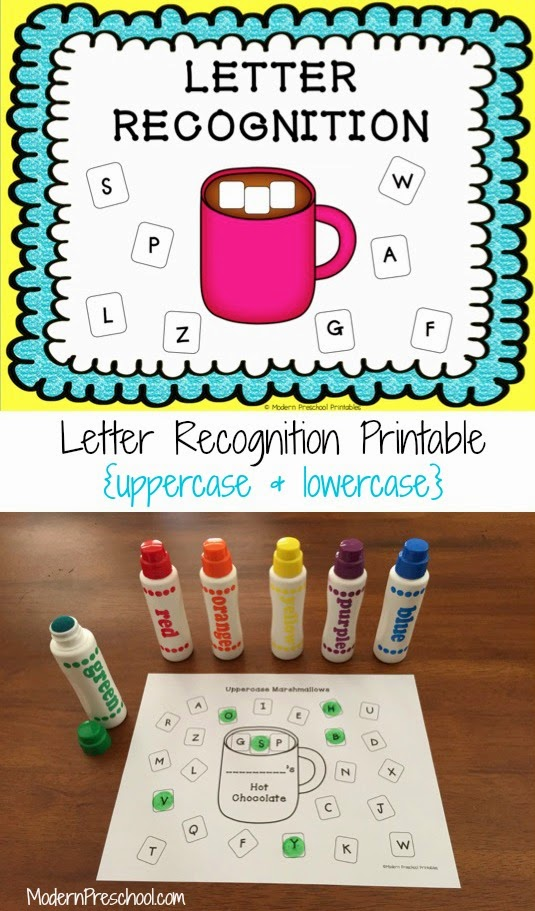 Free printable marshmallow and hot chocolate letter recognition assessment for preschoolers and kindergarteners from Modern Preschool!