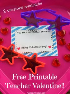 SuperSTAR Student Printable Valentine for Teachers