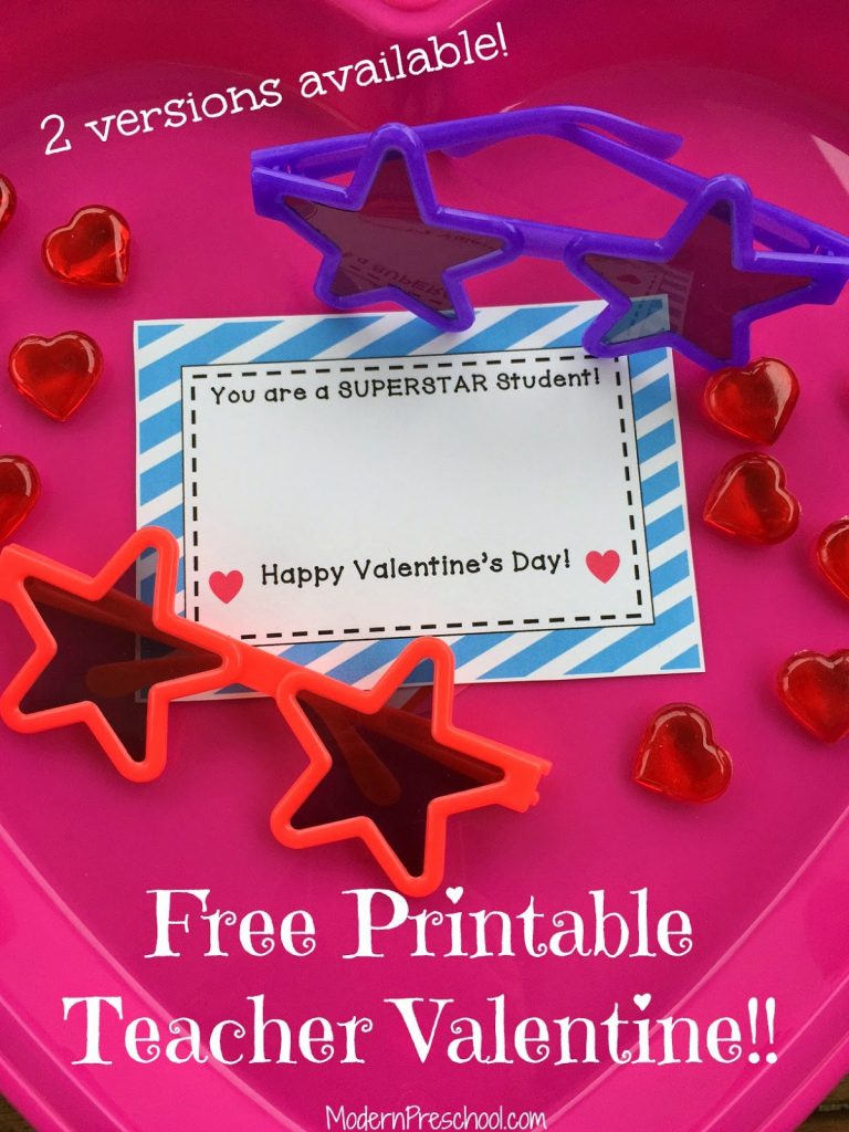 Free printable superSTAR teacher Valentine with star plastic sunglasses for kids