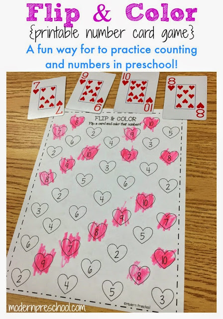 Free printable number matching card heart activity for preschool and kindergarten!