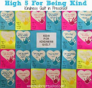 Being Kind in Preschool {kindness quilt & bird feeder}
