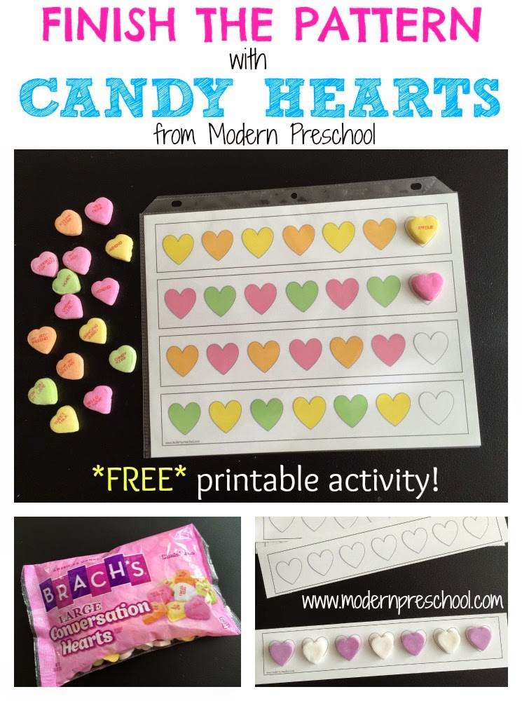 Free easy printable candy heart math patterns for preschool and kindergarten from Modern Preschool!