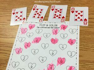 Heart Flip & Color Number Activity