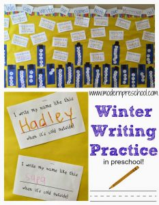 Preschool Handwriting Practice {writing with mittens on!}