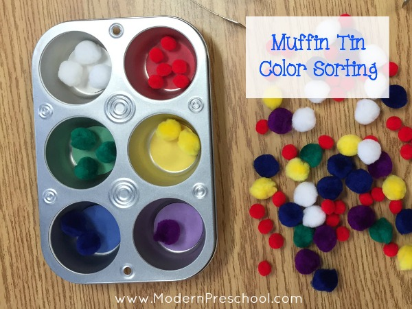 Muffin Tin Color Sorting for preschoolers & toddlers from Modern Preschool