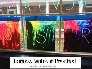 Rainbow Writing in Preschool