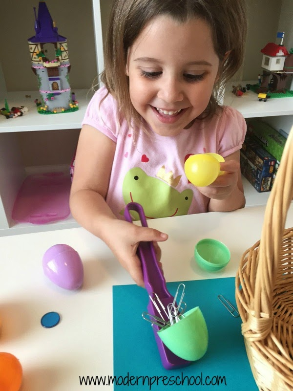 Surprise plastic egg magnetic science for kids! Explore magnets in preschool during a spring or Easter theme.