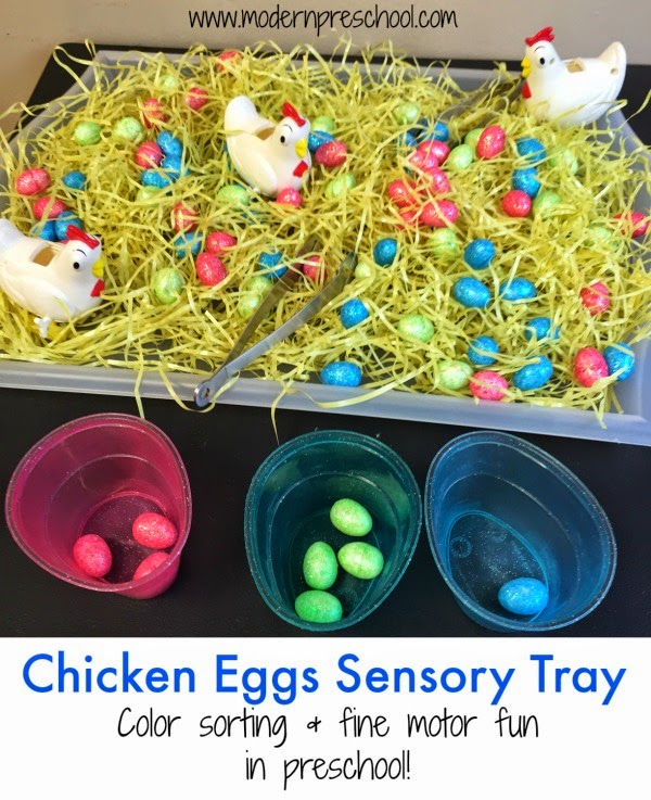 Fine motor and color sorting sensory tray with chicken eggs for toddlers and preschoolers from Modern Preschool