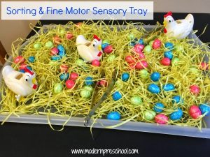 Chicken Eggs Sorting & Fine Motor Sensory Tray