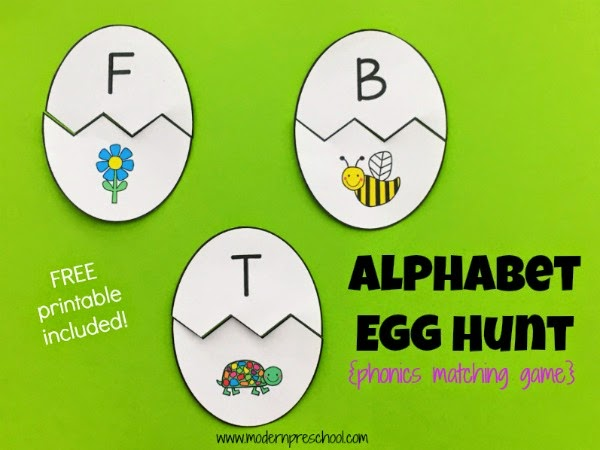 Initial Sound Egg Alphabet Matching Game practices beginning sounds of easy to identify pictures with this FREE printable cracked egg matching busy bag game for preschool & kindergarten. Great for your Easter and spring chick theme!