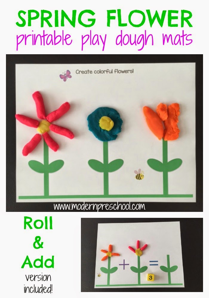 Printable spring flower play dough activity mats to create flowers, practice numbers and adding skills from Modern Preschool