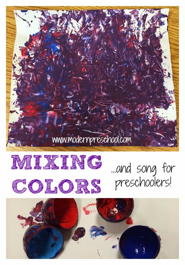 Making purple mixing colors to an egg shaking song in preschool from Modern Preschool