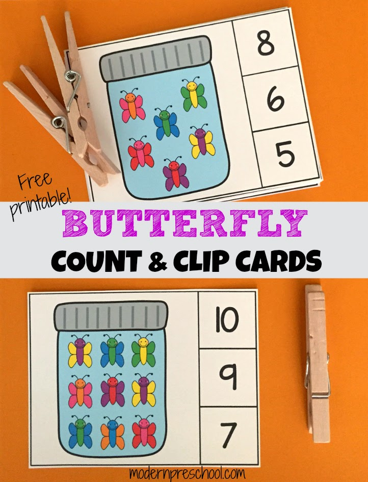 Butterfly Count & Clip Number Cards