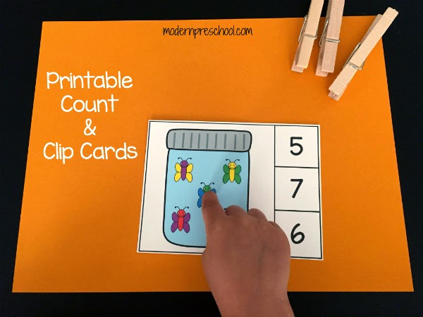 FREE Printable butterfly count & clip cards to practice 1:1 counting and fine motor skills from Modern Preschool. Preschoolers can work on numbers, counting, and more with this printable busy bag for your bug, insect, or spring theme!