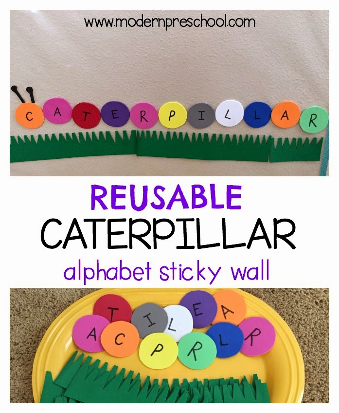 Reusable spring caterpillar alphabet sticky wall: practice letter matching, name recognition from Modern Preschool