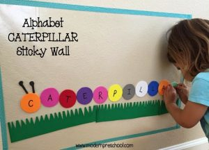 Reusable Colorful Caterpillar Alphabet Sticky Wall
