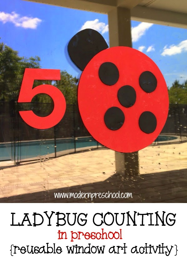 preschool ladybug window counting game with reusable stickers from Modern Preschool