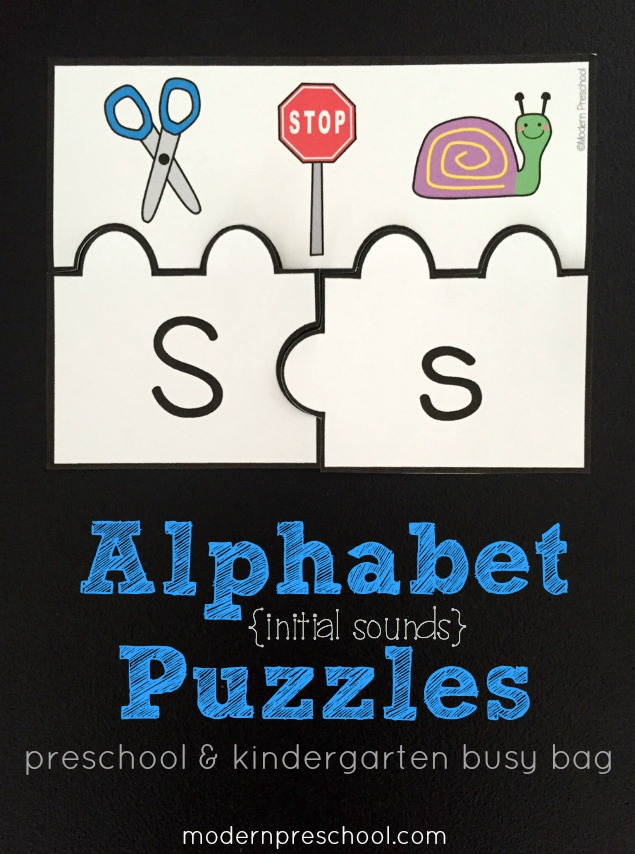 Practice alphabet recognition and beginning sounds with this FREE printable initial sounds alphabet puzzles for preschool and kindergarten!