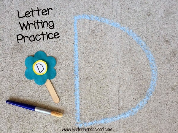 alphabet flowers writing practice and letter matching in preschool from Modern Preschool