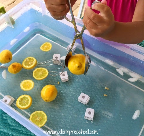 Lemonade sensory soup play idea - fun for summer! from Modern Preschool
