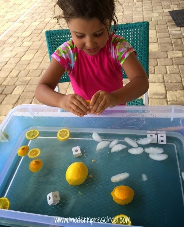 Lemonade sensory soup play idea - fun for summer! from Modern Preschool