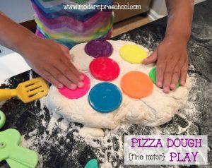 Pizza Dough Fine Motor Pretend Play & Spelling Song