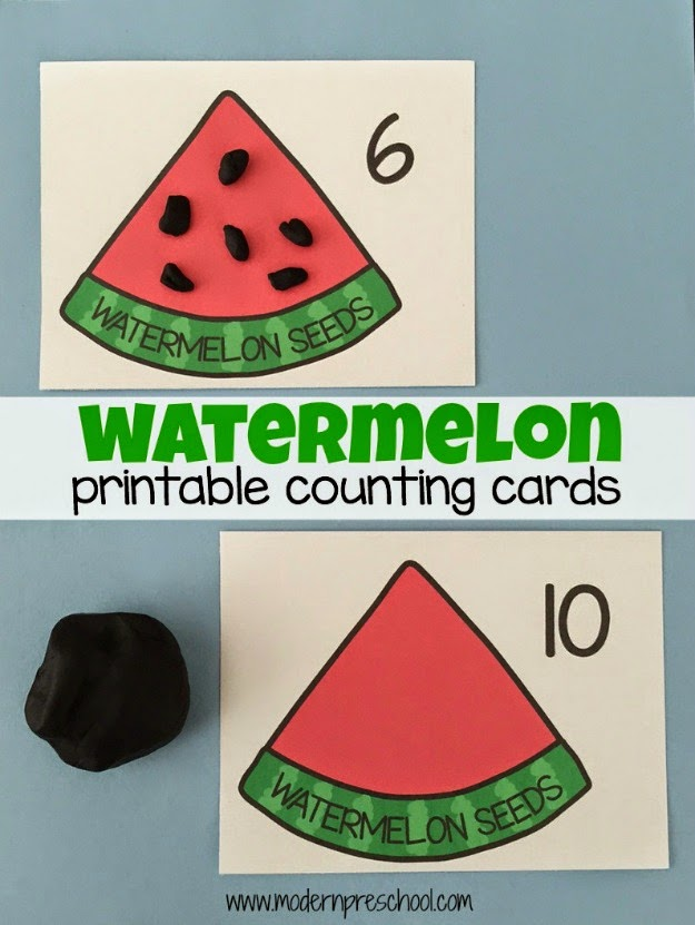 printable watermelon counting cards (1-10) to use with play dough, beads, buttons from Modern Preschool