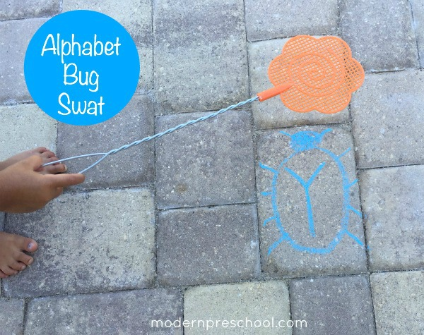 Swat the alphabet bugs! Practice letter recognition and gross motor skills from Modern Preschool.