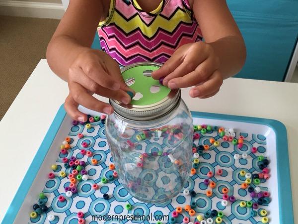 Bead Drop Jar - simple, fine motor activity for preschoolers from Modern Preschool