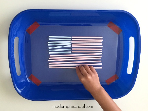 American flag fine motor sticky tray for preschoolers & toddlers - simple, inexpensive 4th of July activity from Modern Preschool