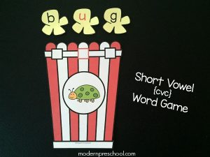 Short Vowel {CVC} Word Popcorn Game (free printable!)
