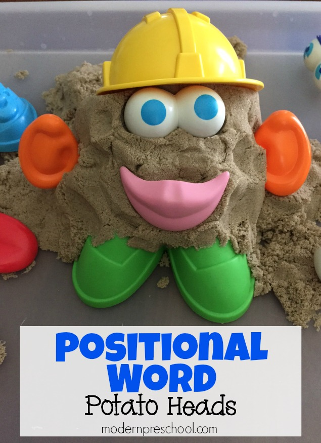 Practice positional words with potato heads! Learning with kinetic sand | Modern Preschool