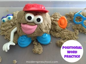 Positional Word Potato Heads {kinetic sand play!}