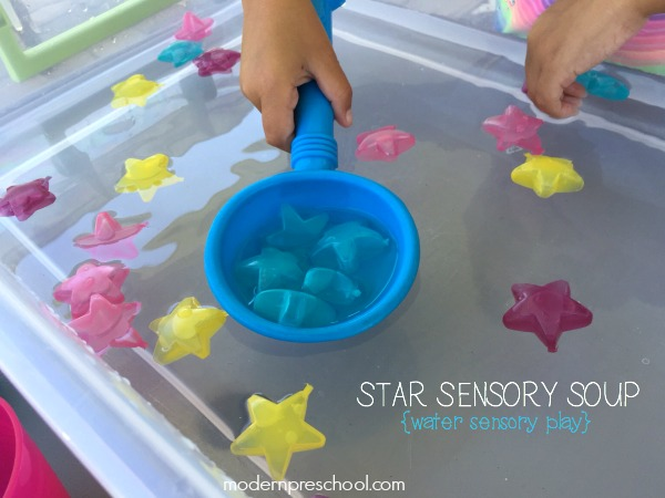 Super simple star sensory water play for toddlers and preschoolers to practice sorting, coordination, and fine motor skills while exploring!