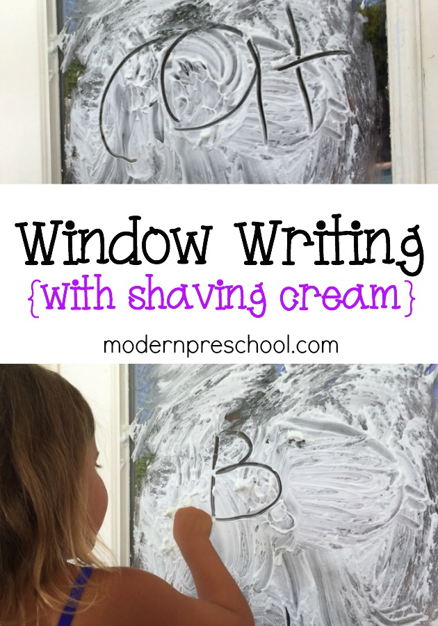 Shaving cream writing on windows! Move the learning outside! {Modern Preschool}