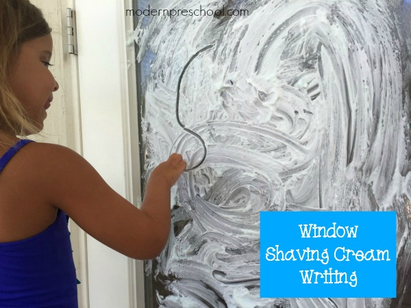 Shaving cream writing on windows! Move the learning to a vertical surface | Modern Preschool
