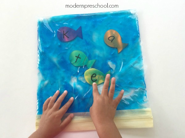 Ocean name recognition sensory bag encourages alphabet practice, letter recognition, and is perfect for an ocean theme in preschool!