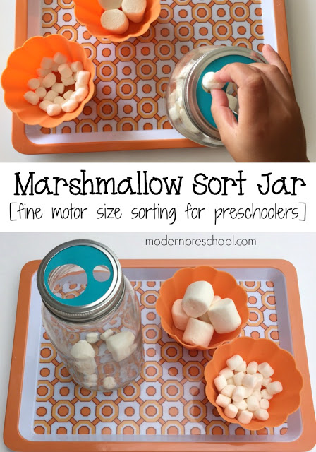 Sort marshmallows by size in this fine motor jar for preschoolers from Modern Preschool