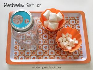 Marshmallow Sort Fine Motor Jar