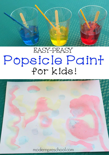 Homemade popsicle paint recipe for kids that smells delicious from Modern Preschool!