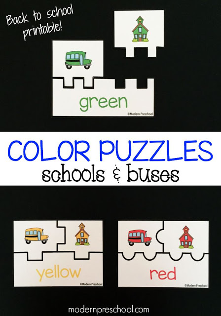 School bus coloring matching printable puzzles from Modern Preschool