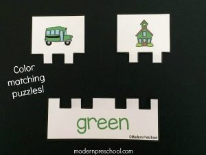 School Bus Color Match Printable Puzzles