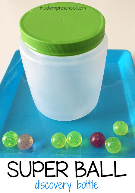 Super bouncy ball discovery bottle for toddlers and preschoolers from Modern Preschool