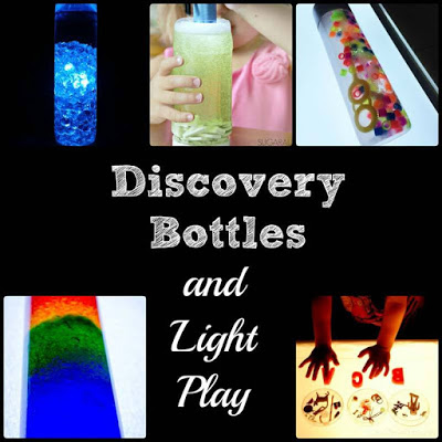 Rainbow Discovery Bottle filled with bubbles and beads for colorful, bubbly sensory light play from Modern Preschool