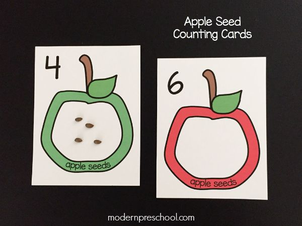 Counting apple seeds! Free printable apple seed counting cards (numbers 1-12) for preschoolers | Modern Preschool
