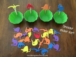 Dinosaur Sticker Sorting for Preschoolers