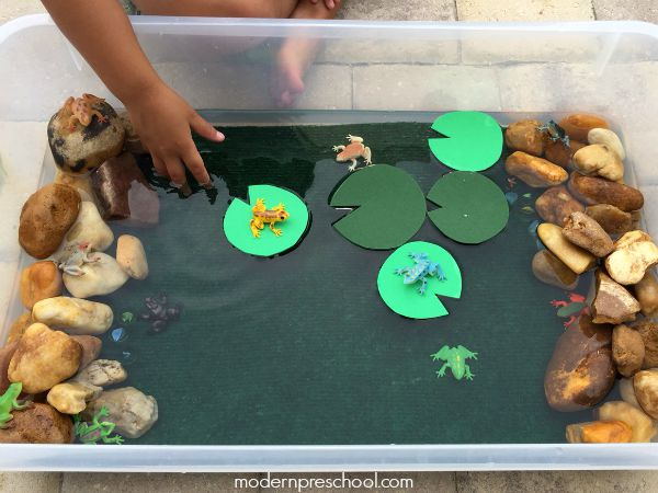 Frog splashing pond small world for Frog crafts for preschoolers