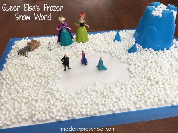Frozen fun pretend play with Queen Elsa's snow world for preschoolers! {Modern Preschool}