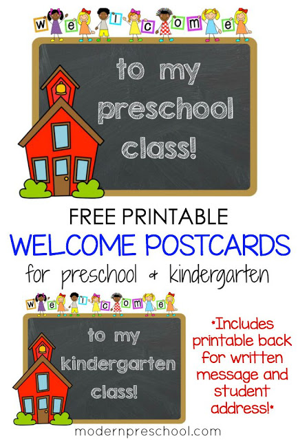 Printable Student Welcome Postcards For Preschool